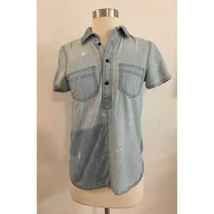 Madewell Rivet & Thread Chambray Bleach Top